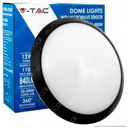 V-Tac VT-8008 Plafoniera LED 12W con Sensore di Movimento a Microonde Colore Nero IP66 - SKU 4981 / 4971 / 4980