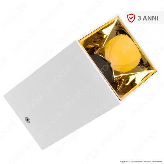 V-Tac VT-882 Supporto Portafaretto Fisso Quadrato da Soffitto per Lampadine GU10 e GU5.3 Riflettore Oro - SKU 8586