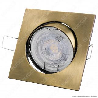 V-Tac VT-779 Portafaretto Orientabile Quadrato da Incasso per Lampadine GU10 e GU5.3 Colore Oro - SKU 8581
