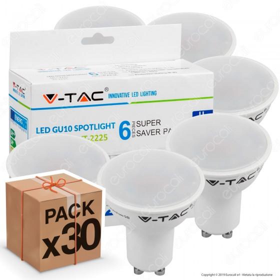 30 Lampadine LED V-Tac VT-2225 Super Saver Pack GU10 5W Spotlight 110° - Pack Risparmio