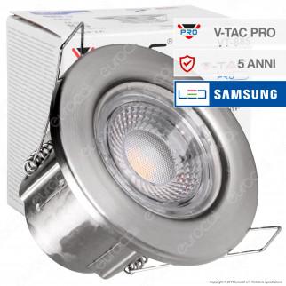V-Tac PRO VT-885 Faretto LED 5W da Incasso Rotondo Nichel Satinato Dimmerabile IP65 - SKU 8174 / 8179