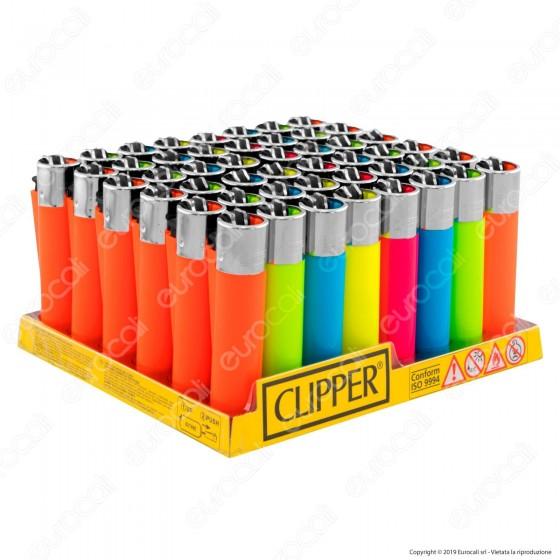 Clipper Large Fantasia Solid Fluo Mix - Box da 48 Accendini