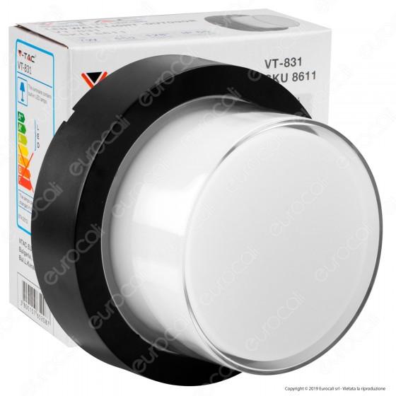 V-Tac VT-831 Lampada LED da Muro 7W Wall Light Colore Nero Forma Rotonda - SKU 8611