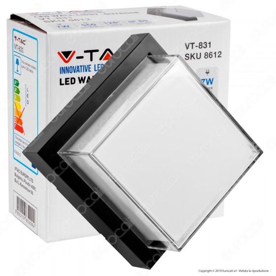 V-Tac VT-831 Lampada LED da Muro 7W Wall Light Colore Nero Forma Quadrata - SKU 8612