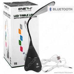 Ener-J Lampada Smart da Tavolo LED 6W con Speaker Bluetooth e Batteria Ricaricabile Colore Nero - mod. T11