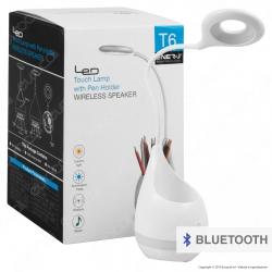Ener-J Lampada Smart da Tavolo LED 3W con Speaker Bluetooth e Batteria Ricaricabile Colore Bianco - mod. T6