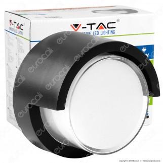 V-Tac VT-827 Lampada LED da Muro 12W Wall Light Colore Nero Forma Rotonda - SKU 8537 / 8538