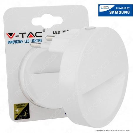 V-Tac VT-86 Punto Luce LED Forma Rotonda con Sensore Crepuscolare con Chip Samsung - SKU 20017 / 20018