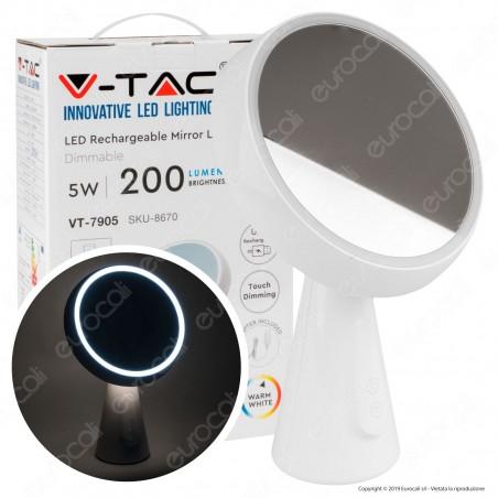 V-Tac VT-7905 Lampada LED a Specchio da Tavolo 5W Orientabile Dimmerabile con Batteria Ricaricabile Colore Bianco - SKU 8670