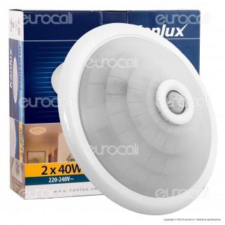 Kanlux Plafoniera Portalampada Adattatore con Sensore di Movimento Infrarossi per 2 Lampadine E27 - mod.18120