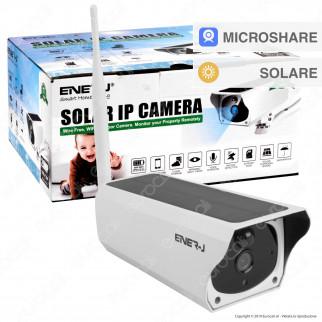 Ener-J Solar IP Camera Wi-Fi Telecamera di Sorveglianza a Batteria con Pannello Solare e Sensore 2MP 720p IP66 - mod. IPC1018