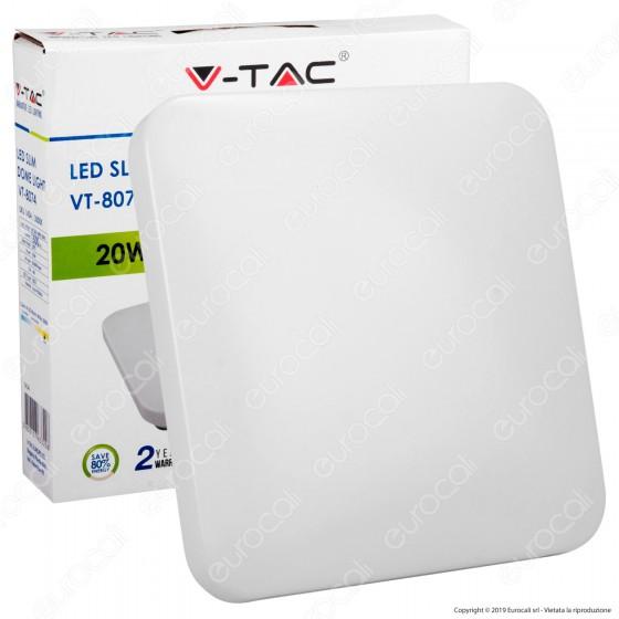 V-Tac VT-8074 Plafoniera LED 20W Forma Quadrata Colore Bianco - SKU 1434 / 1435 / 1436