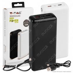 V-Tac VT-3519 Jumbo Power Bank Portatile 30000 mAh 2 Uscite USB 3A con Ricarica Rapida 18W Type C - SKU 8901 / 8902