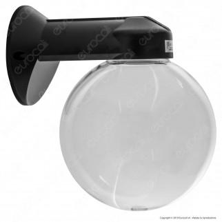 Velamp Portalampada da Giardino Wall Light da Muro Applique a Sfera Trasparente per Lampadine E27 - mod. SPH206P