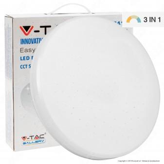 V-Tac VT-8412 Plafoniera LED 12W Changing Color 3in1 Forma Circolare Effetto Cielo Stellato - SKU 7602