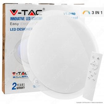 V-Tac VT-8480 Plafoniera LED 80W 3in1 Forma Circolare Effetto Cielo Stellato con Telecomando - SKU 1496