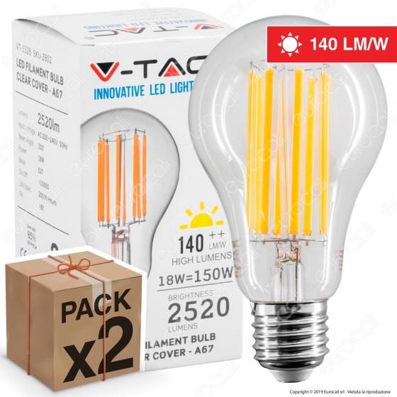 2 Lampadine LED V-Tac VT-2328 E27 18W Bulb A67 Filament - Pack Risparmio