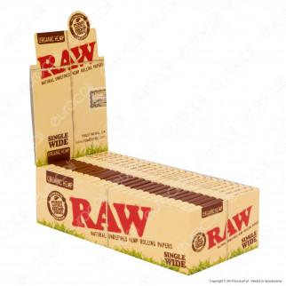 Cartine Raw Organic Hemp Single Wide Corte Doppie Canapa Biologica - Scatola da 25 Libretti