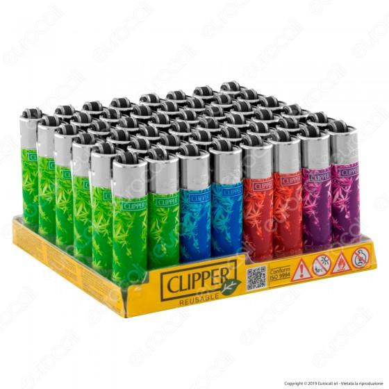 Clipper Micro Fantasia Color Leaves - Box da 48 Accendini