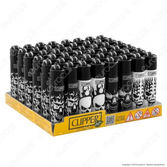 Clipper Micro Fantasia Skulls B&W - Box da 48 Accendini