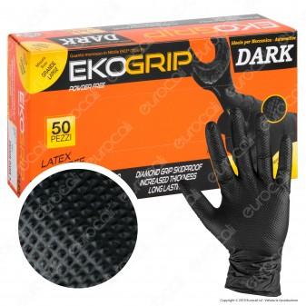 Gardening EKO Grip Dark Guanti Monouso Antiscivolo Neri in Nitrile Senza Talco - Confezione da 50 pezzi