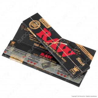 Cartine Raw Classic Black King Size Slim Lunghe - Scatola da 50 Libretti