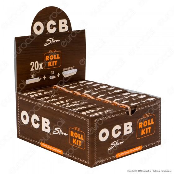Ocb Virgin Paper Slim Roll Kit Cartine Lunghe King Size e Filtri In Carta Non Sbiancata Senza Cloro - Box da 20 Libretti