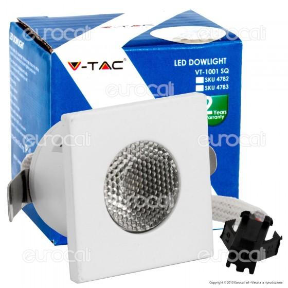V-Tac VT-1001-2 SQ Faretto Segnapasso LED da Incasso Quadrato 1W COB