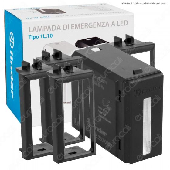 Finder Lumos Tipo 1L.10 Lampada LED 0,2W di Emergenza da Incasso Scatola 503 con Cover Colore Bianco - mod. 1L.10.8.230.0002
