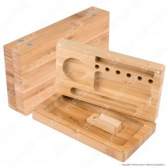 Spliff Box Stazione di Rollaggio Grande in Legno Bamboo Chiusura Magnetica