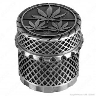 Grinder Tritatabacco in Metallo 4 Parti Magnetiche Colori Anticati Logo 3 Foglie Canapa Ø45mm