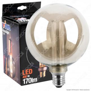 Wiva GlassLight Fumè Lampadina LED E27 4W Globo G125 Ambrata Oscurata con Incisioni Laser - mod. 12100660