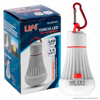 Life Torcia LED 1,5W da Campeggio Alimentata a Batterie AAA con Base Magnetica e Moschettone - mod. 39.LED3401
