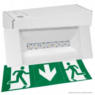Awex Lampada LED d'Emergenza 2W Anti Black Out 425lm Autonomia 1 Ora con Pittogrammi - mod. WND2WC1MWT