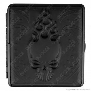 Atomic Astuccio Porta Sigarette in Metallo e Vera Pelle con Disegno Skull Design in Rilievo