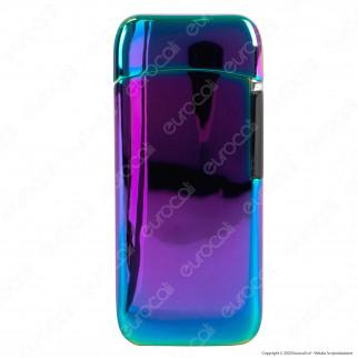 Cozy Accendino USB in Metallo Cromato Antivento Ricaricabile con Doppio Arco al Plasma