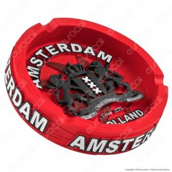 Amsterdam Posacenere da Tavolo Rotondo in Terracotta Rossa con Logo in Rilievo