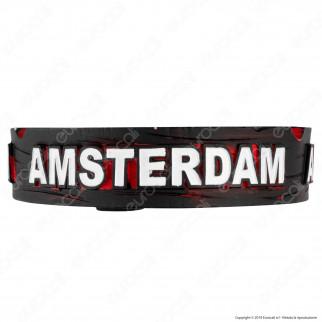Amsterdam Posacenere da Tavolo Rotondo in Terracotta con Logo in Rilievo