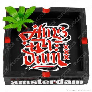 Amsterdam XXX Posacenere da Tavolo Quadrato in Terracotta con Logo in Rilievo