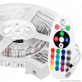 V-Tac VT-5050 Kit con Striscia LED 5050 Multicolore RGB 5mt Controller e Alimentatore - SKU 2558