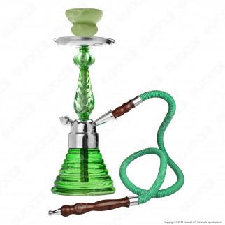 Champ Narghilè in Vetro Lavorato Colore Verde con 1 Hose mod. 40508008 - Altezza 32cm
