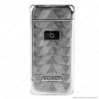 Balmain Paris Accendino USB in Metallo Cromato Antivento Ricaricabile con Arco al Plasma