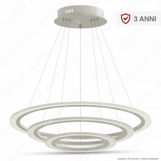 V-TAC VT-70-3D Lampadario LED Anello Triplo 70W Sospensione in Metallo Bianco Dimmerabile - SKU 3904 / 3905