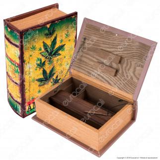 Amsterdam Foglie Spliff Box Stazione di Rollaggio Grande in Legno Effetto Libro con Chiusura Magnetica