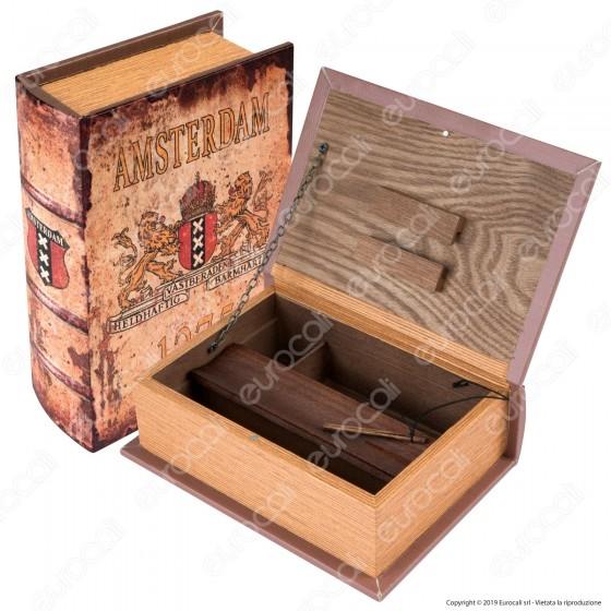 Amsterdam Leoni Spliff Box Stazione di Rollaggio Grande in Legno Effetto Libro Beige con Chiusura Magnetica