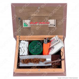 Amsterdam Foglie Spliff Box Stazione di Rollaggio Piccola in Legno Effetto Libro con Chiusura Magnetica
