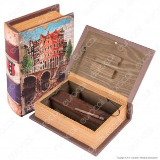 Amsterdam Ponte Spliff Box Stazione di Rollaggio Piccola in Legno Effetto Libro con Chiusura Magnetica