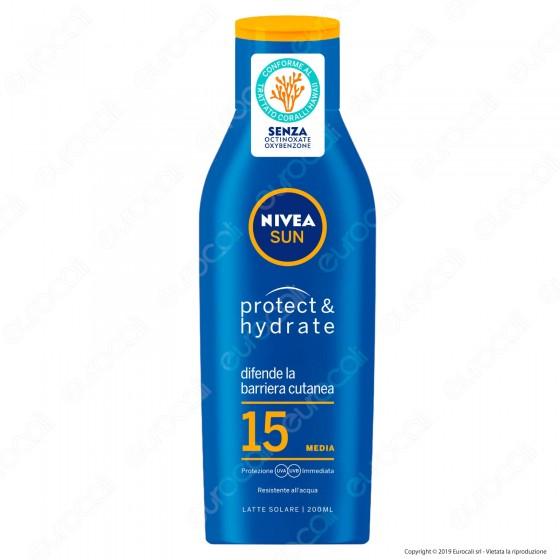 Nivea Sun Latte Solare Protect & Hydrate Crema Idratante Resistente all'Acqua FP 15 - Flacone da 200ml