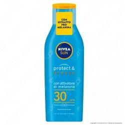 Nivea Sun Latte Solare Protect & Bronze Pro-Melanina Idratante Resistente all'Acqua SPF 30 - Flacone da 200ml