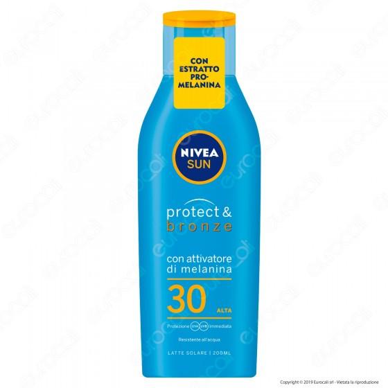 Nivea Sun Latte Solare Protect & Bronze Pro-Melanina Idratante Resistente all'Acqua FP 30 - Flacone da 200ml